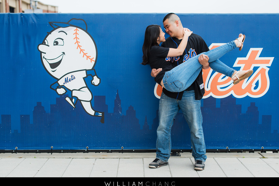 Citi Field Mets ballpark stadium engagement photos   Olivia + Jonathan